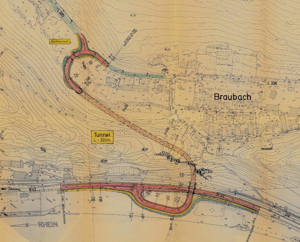 Planung einer Streckenführung aus dem Jahr 1990.
