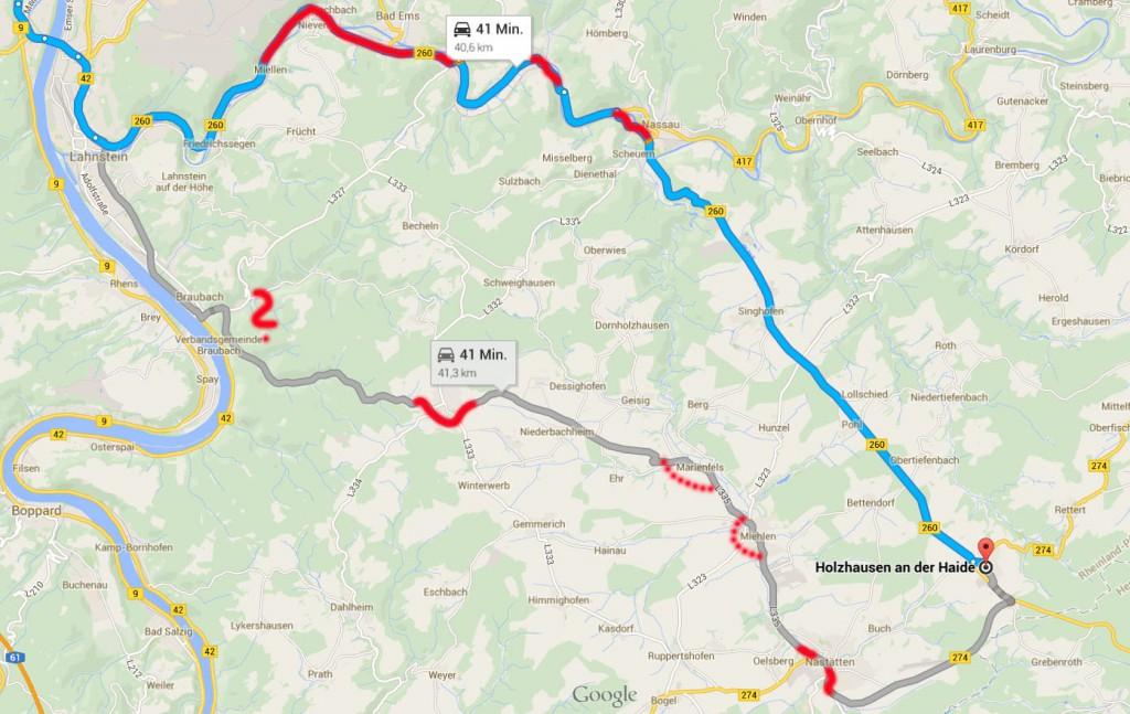 B260 und L335 im direkten Vergleich. Rote Linien markieren Ortsumgehungen. Rot gepunktete Linien verweisen auf bereits geplante Ortsumgehungen. Nur in Braubach steht nach wie vor ein großes Fragezeichen!